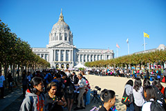 Photo of young people at an education rally in front of San Francisco City Hall